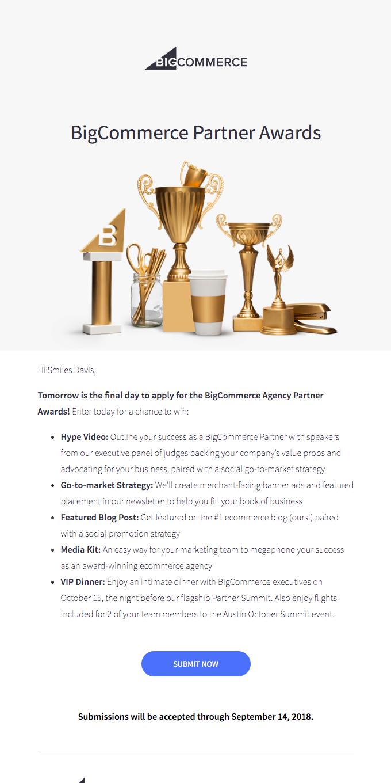 DEADLINE TOMORROW: 2018 BigCommerce Agency Partner Awards