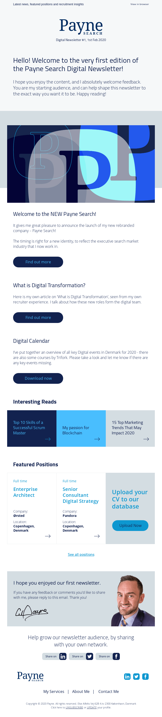 Digital Newsletter from Payne Search! – 1st Edition