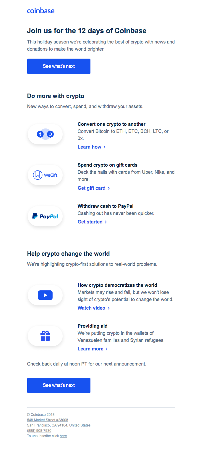 Don't miss the 12 days of Coinbase