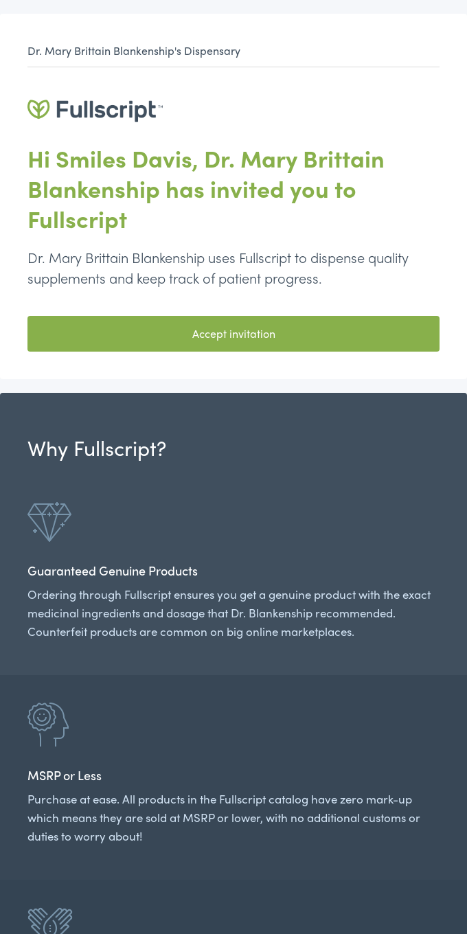 Dr. Mary Brittain Blankenship's Dispensary has invited you to join Fullscript