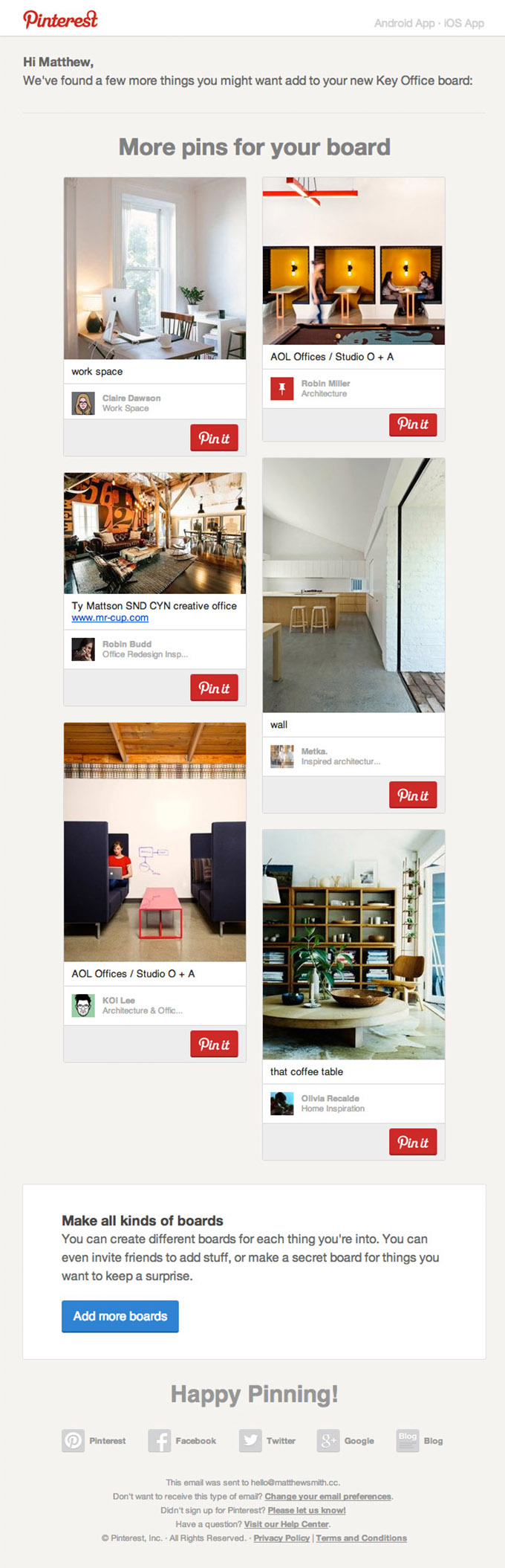 Email Newsletter Design from Pinterest | Really Good Emails