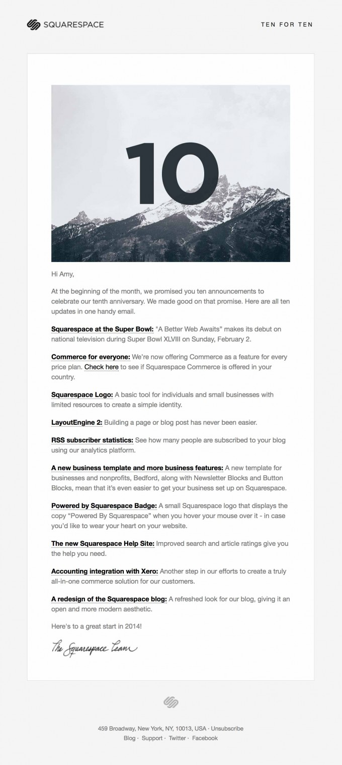 Email Newsletter Design from Squarespace | Really Good Emails