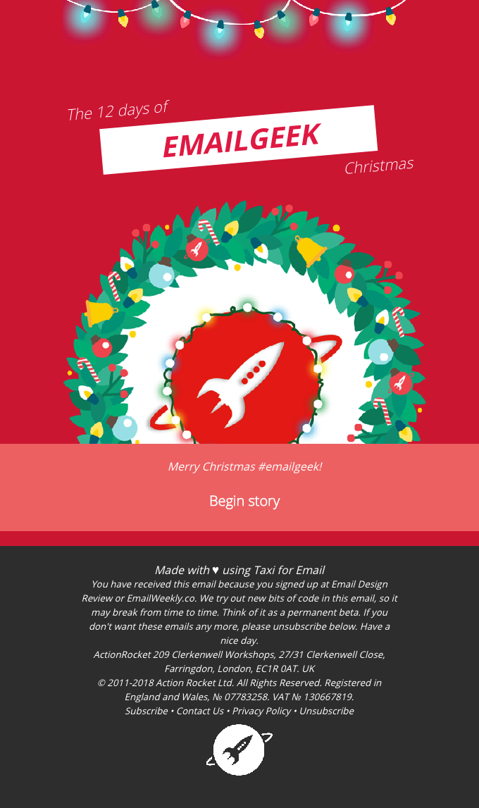 EmailWeekly #207: 12 Days of Email Geek Christmas…