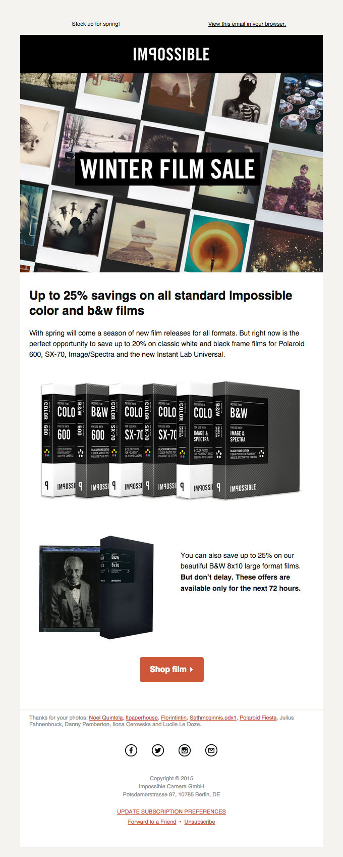 End of season sale of all standard Color & B&W films
