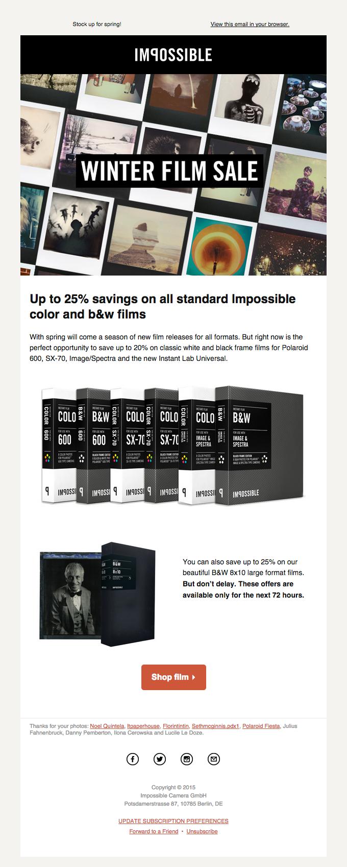 End of season sale of all standard Color & B&W films