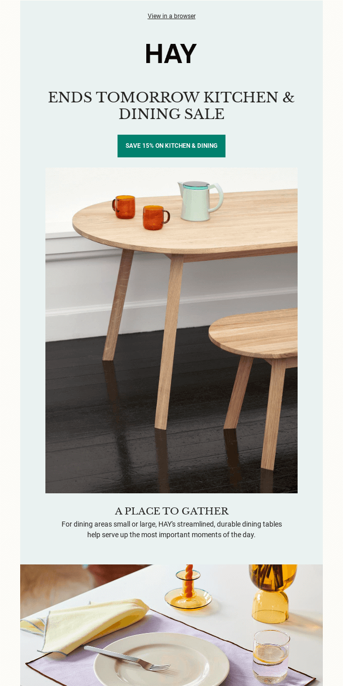 Ends tomorrow: Kitchen & Dining Sale