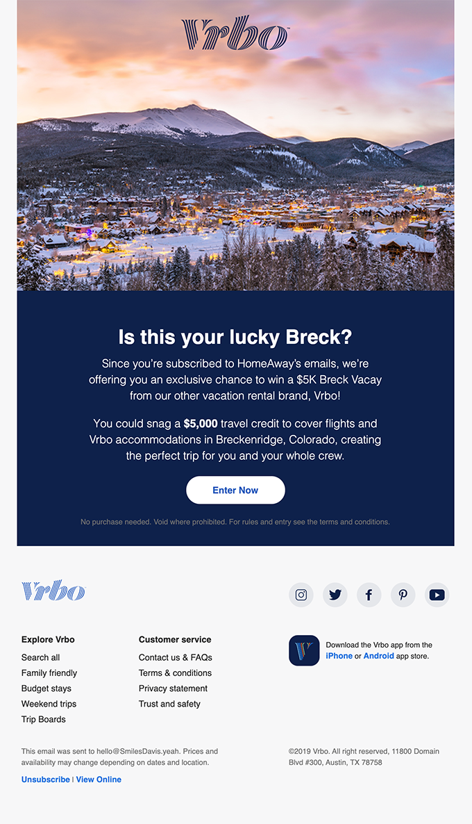 Enter Vrbo's $5K Vacay, courtesy of HomeAway!