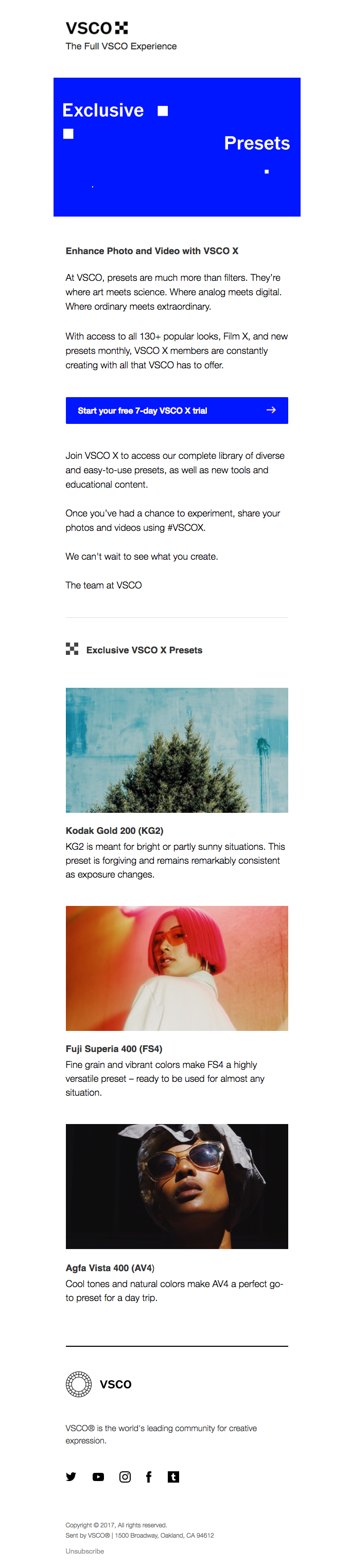 Exclusive VSCO Presets | Really Good Emails