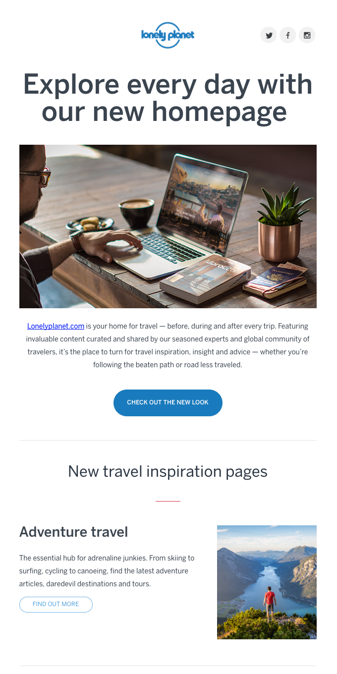 Explore every day with our new homepage