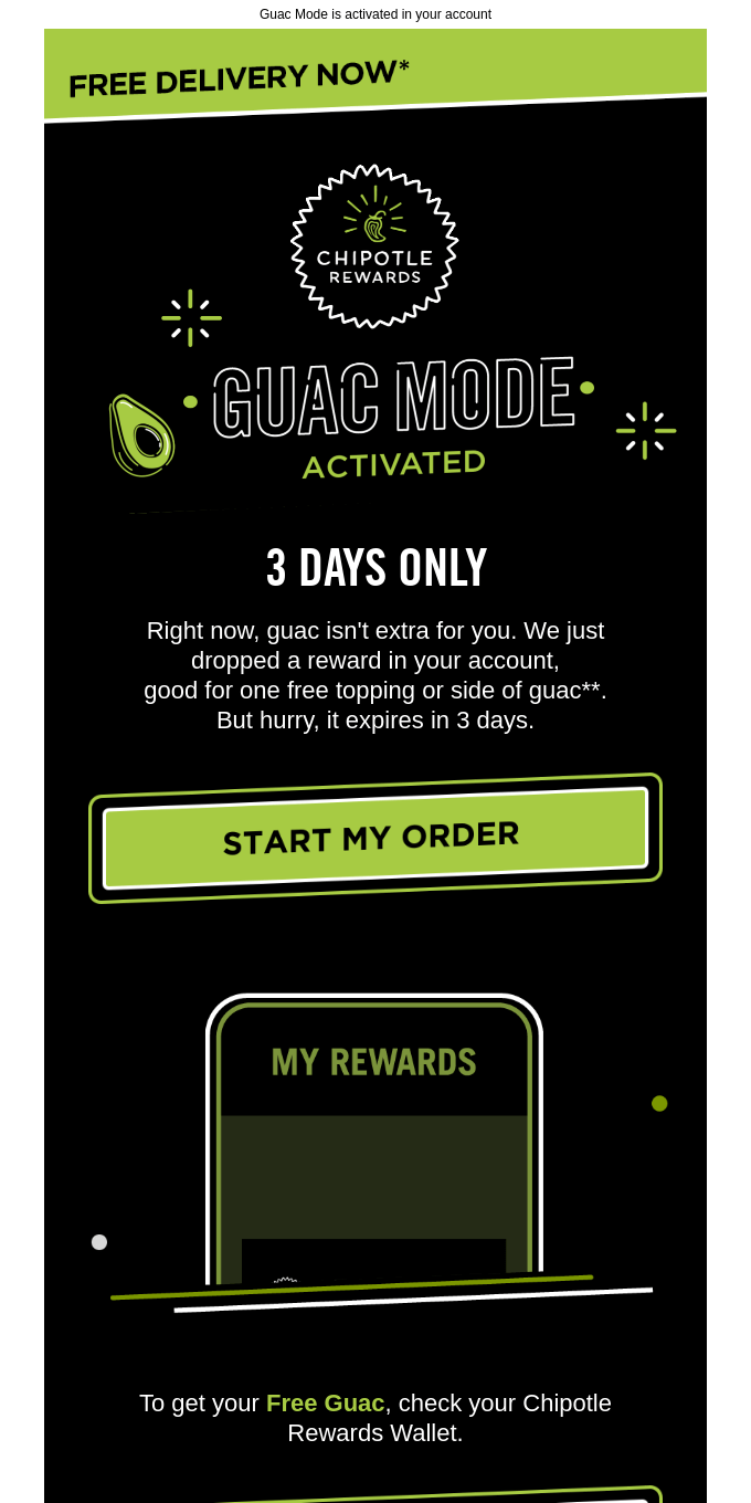 Free Guac. Free Delivery. Guac Mode is on. 🥑