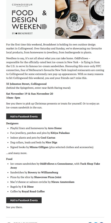 food and design weekend
