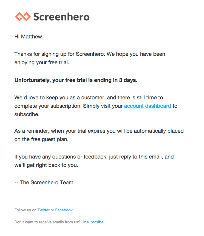 Free Trial Expiration Email from ScreenHero