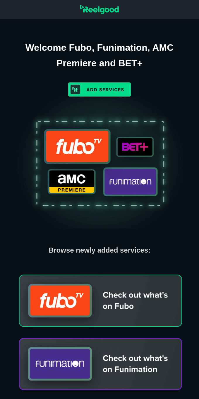 FuboTV, Funimation, AMC Premiere, & BET+ are here!