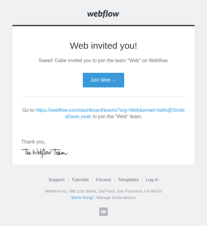Gabe invited you to join Web on Webflow