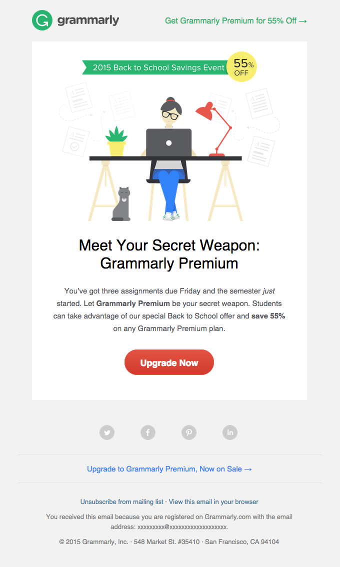 Get 55% Off Grammarly Premium for Back to School | Really Good Emails