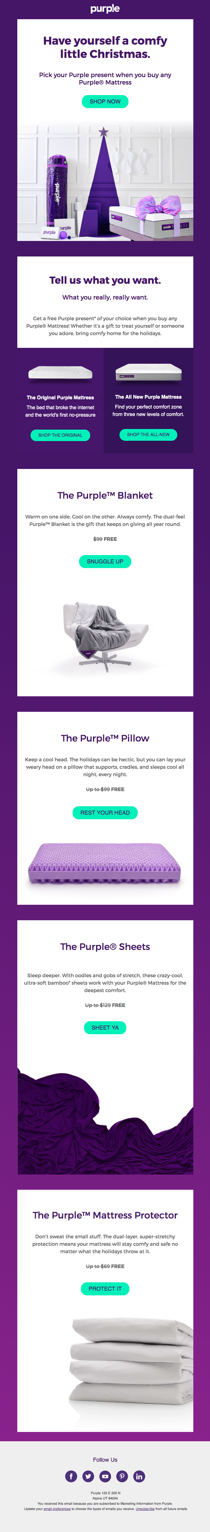Get a free comfy Purple present on us