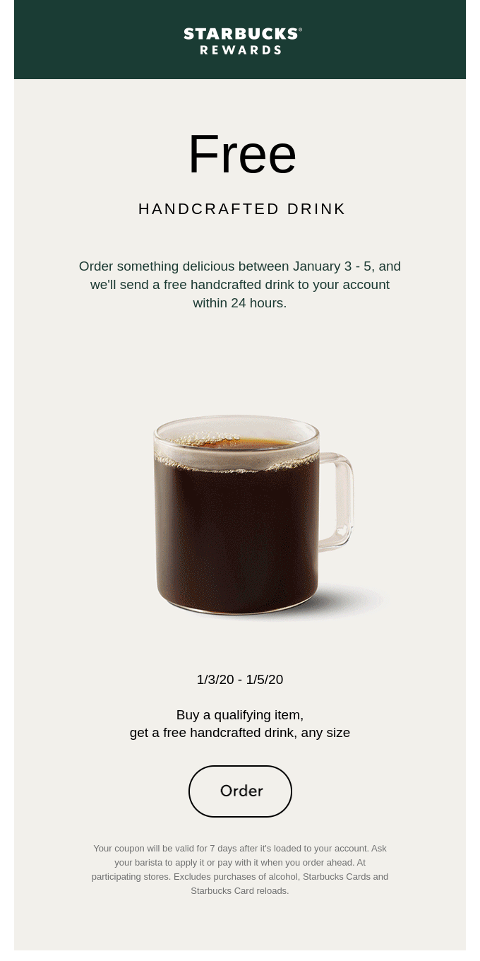 Get a free handcrafted drink when you