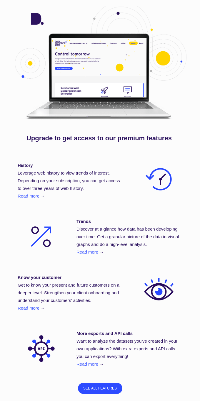 Get access to our premium features