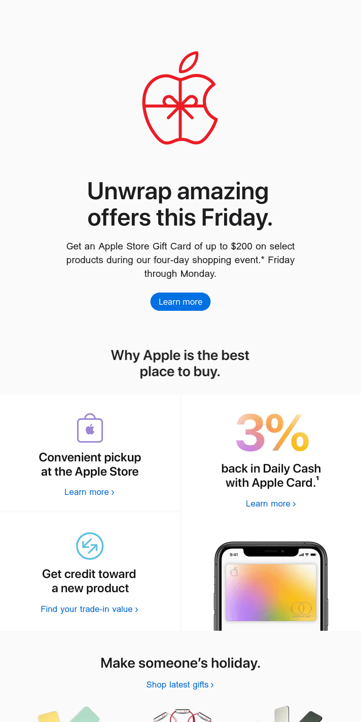 Get an Apple Store Gift Card of up to $200. Starting this Friday.