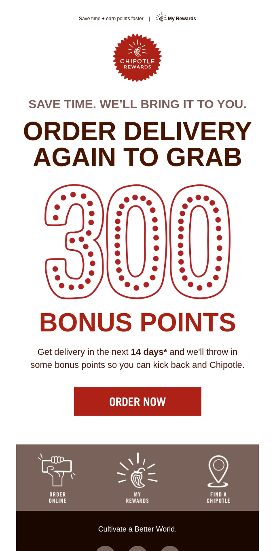 Get 🌯 delivered for 300 bonus points