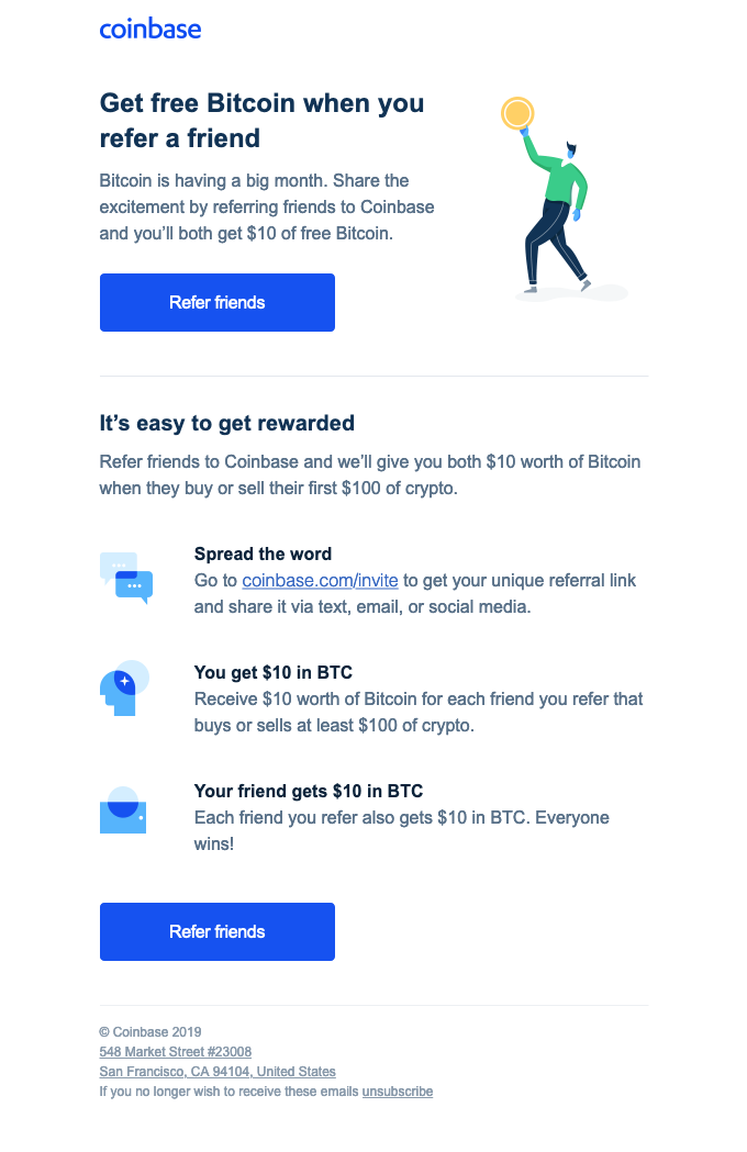 Get free Bitcoin when you refer a friend