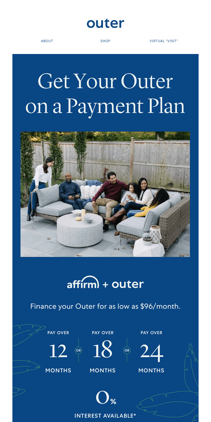 Get Outer on a payment plan & make staying at home a bit more comfortable.
