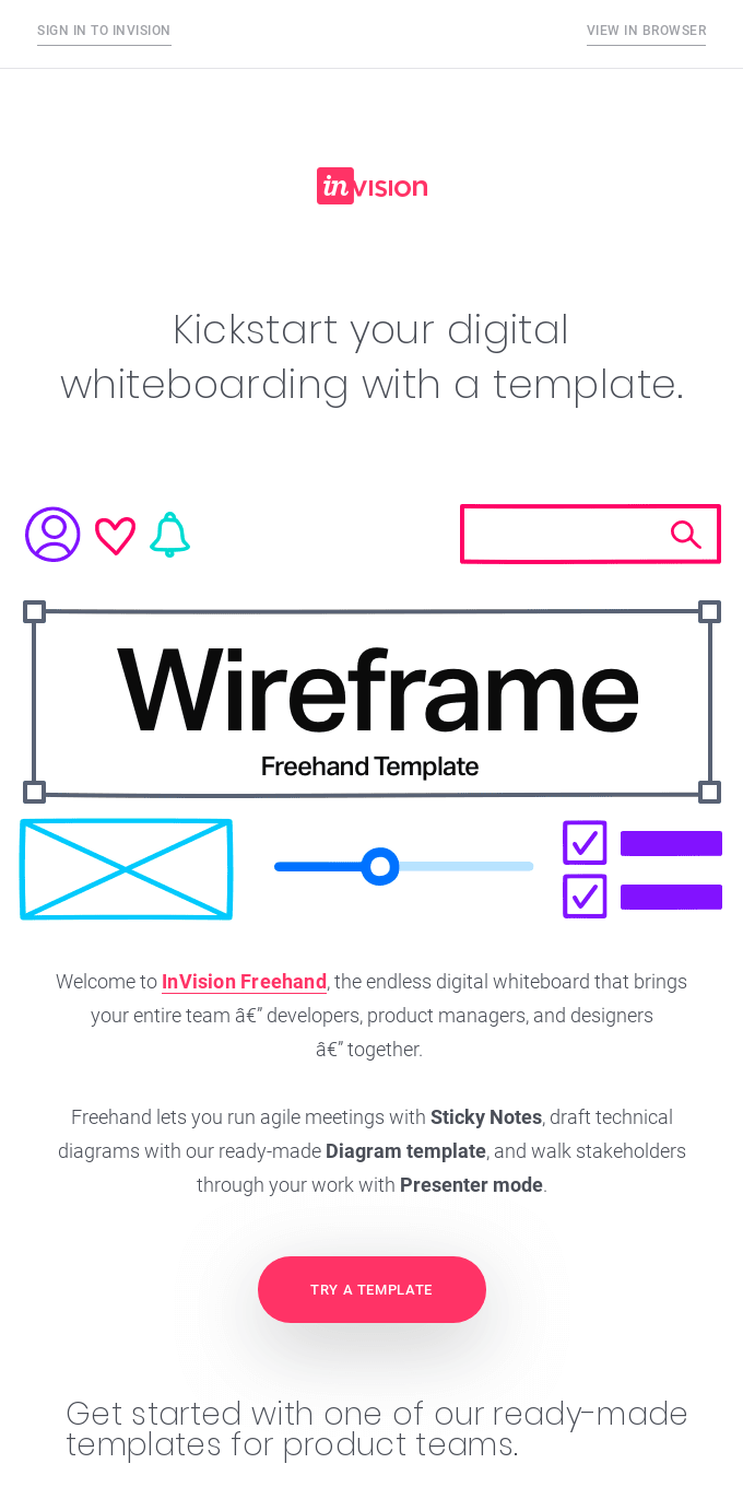 Get started fast with a Freehand template