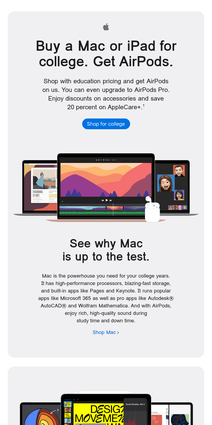 Get the most out of college when you shop for a Mac or iPad.
