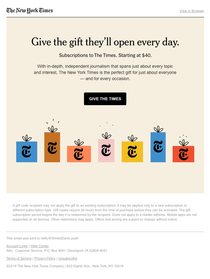 Give the gift you'd like to receive — The New York Times