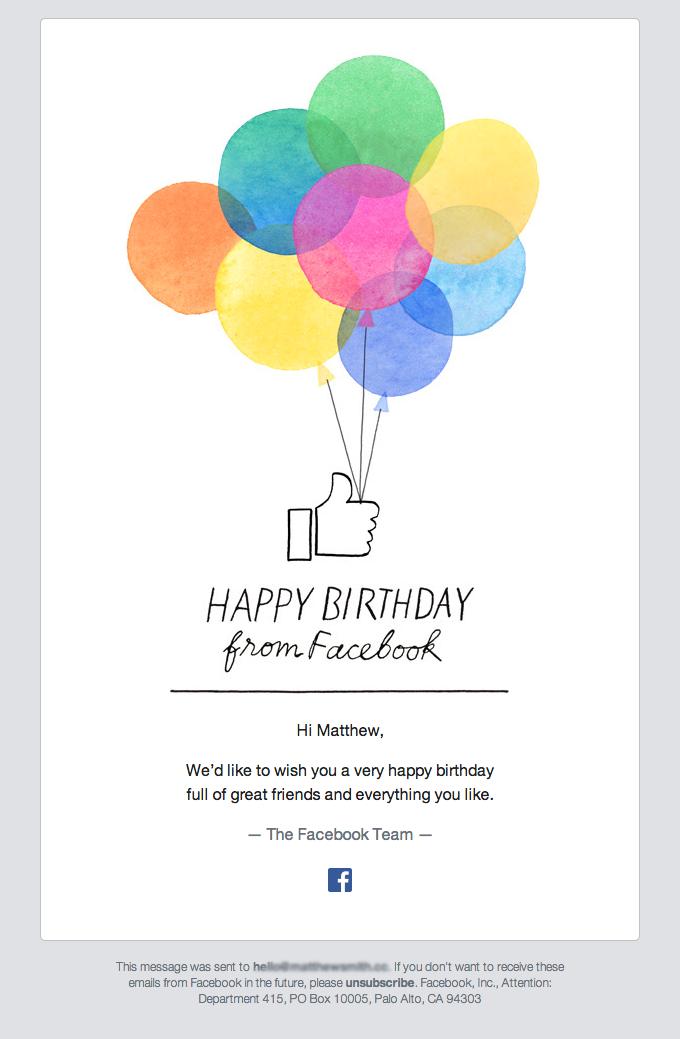 Happy Birthday From Facebook