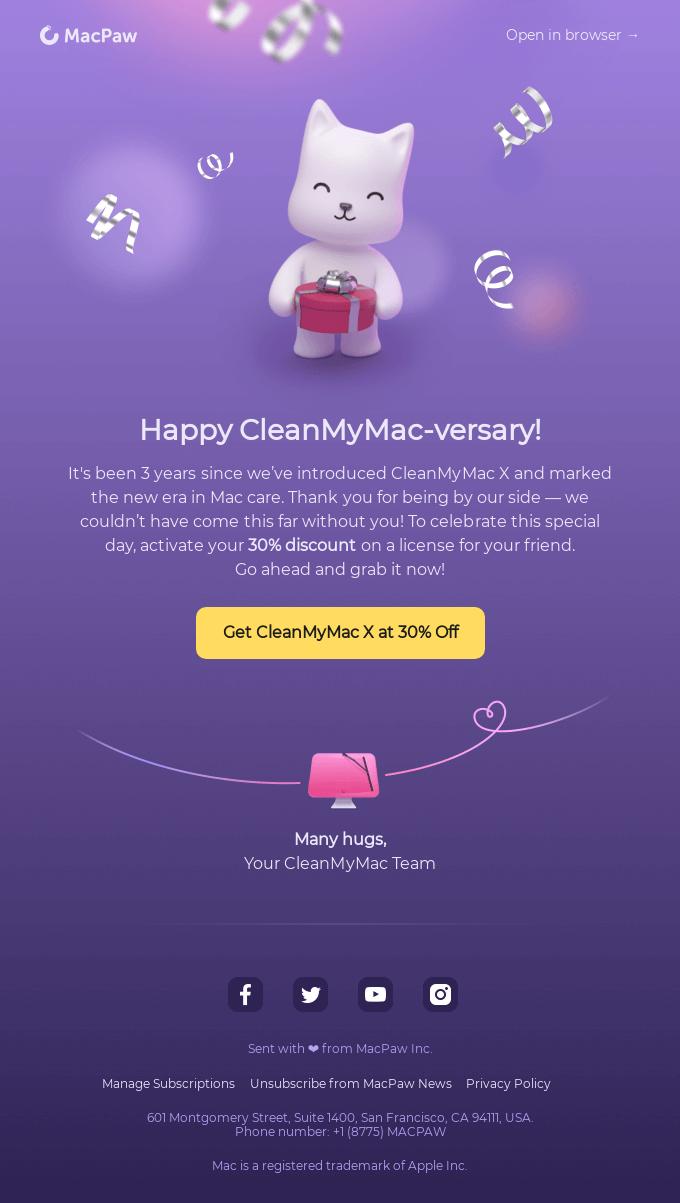 Happy CleanMyMac-versary! Grab your discount 🎁