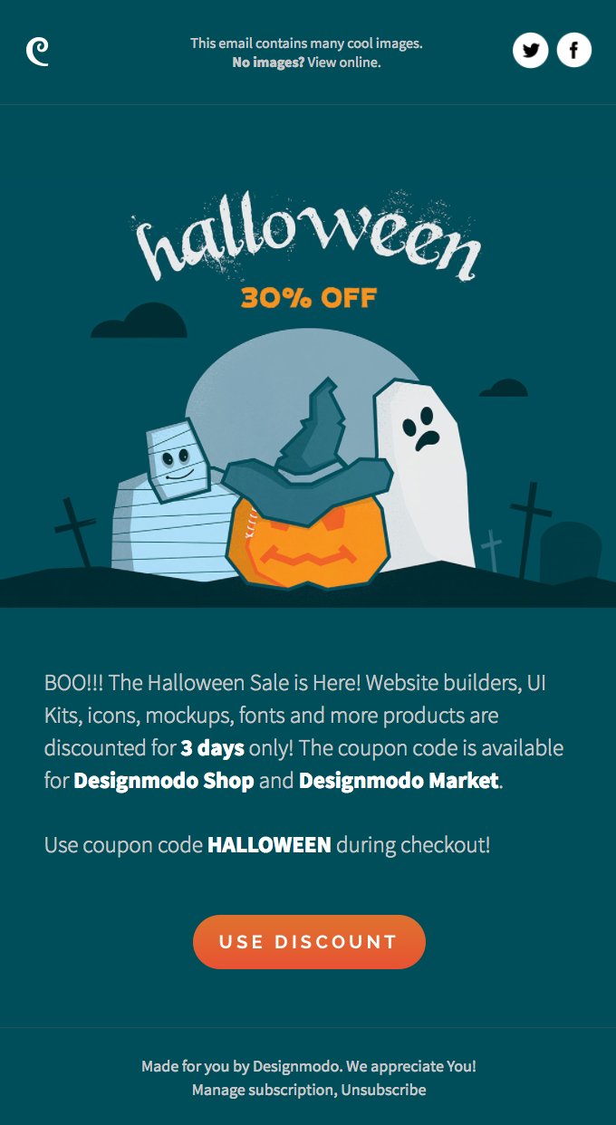👾 🎃 👻 Happy Halloween! Get 30% off Designmodo Shop and Market