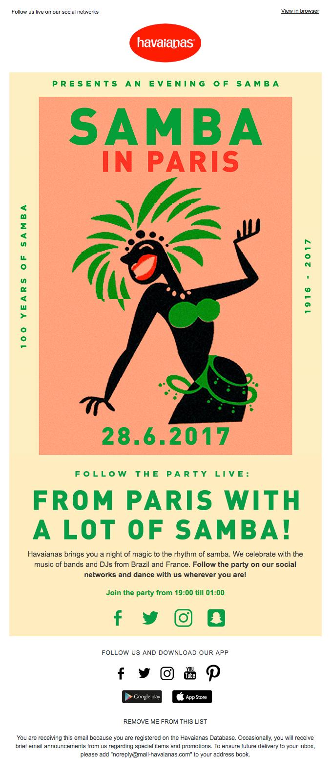 Havaianas invites you to its Samba in Paris event