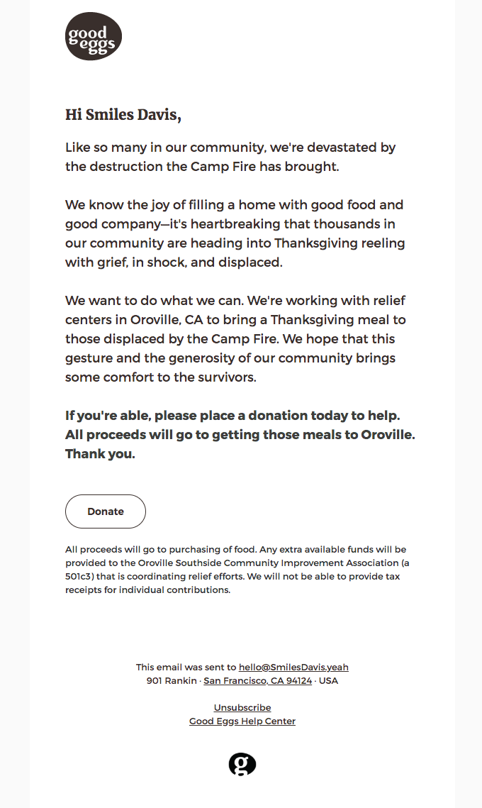 Help bring Thanksgiving to the Camp Fire evacuees