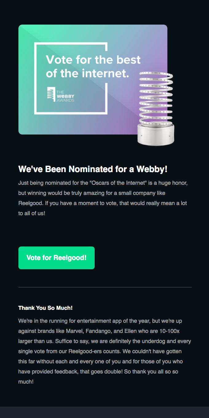 Help out the underdog! Vote 👏 for 👏 Reelgood 👏