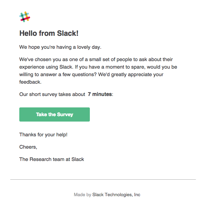 Help us improve Slack by taking this survey
