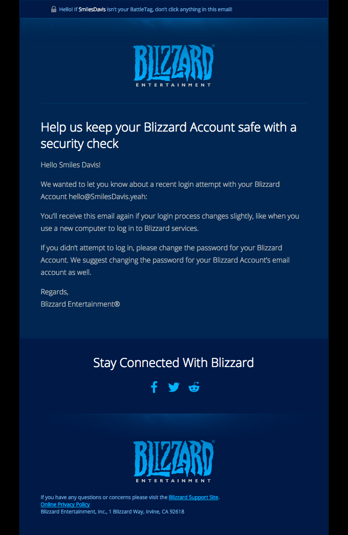 Help us keep your Blizzard Account safe with a security check