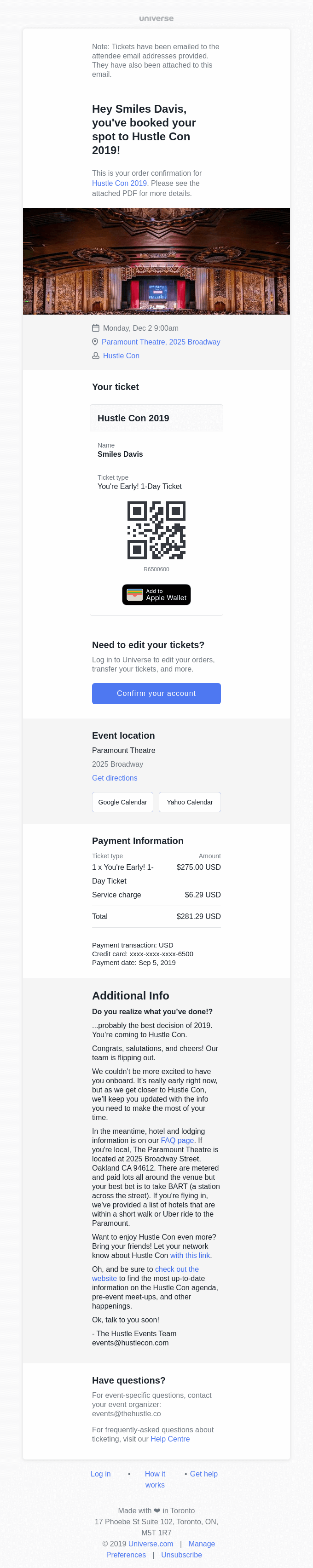 Here is your ticket to Hustle Con 2019
