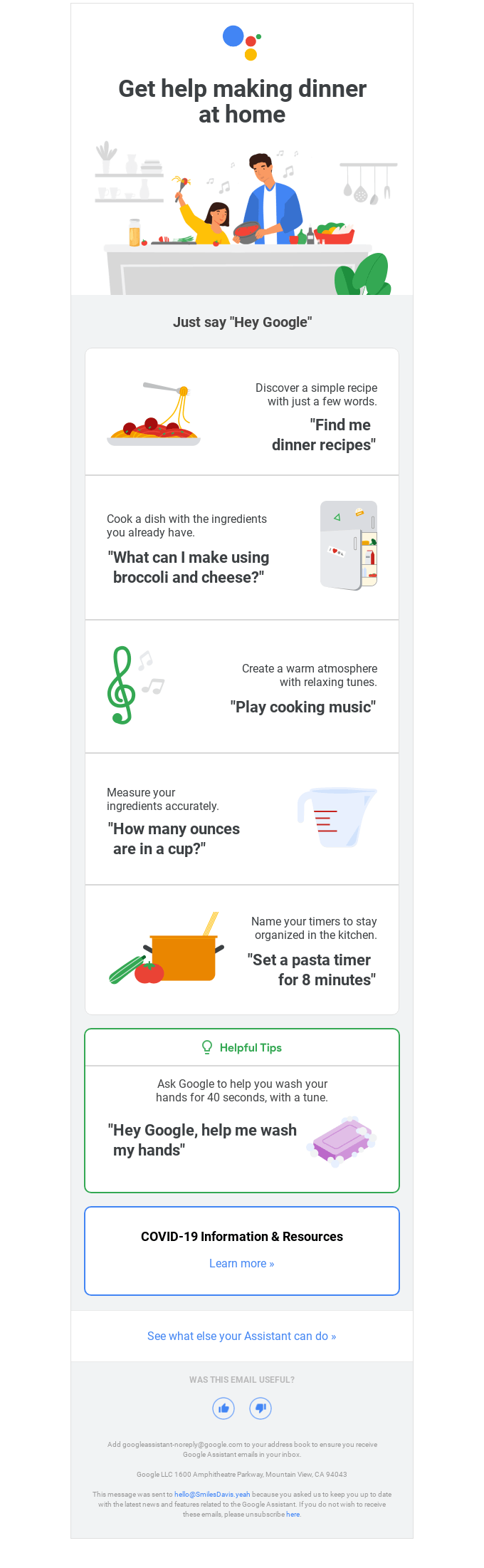 Hey Google, find me dinner recipes