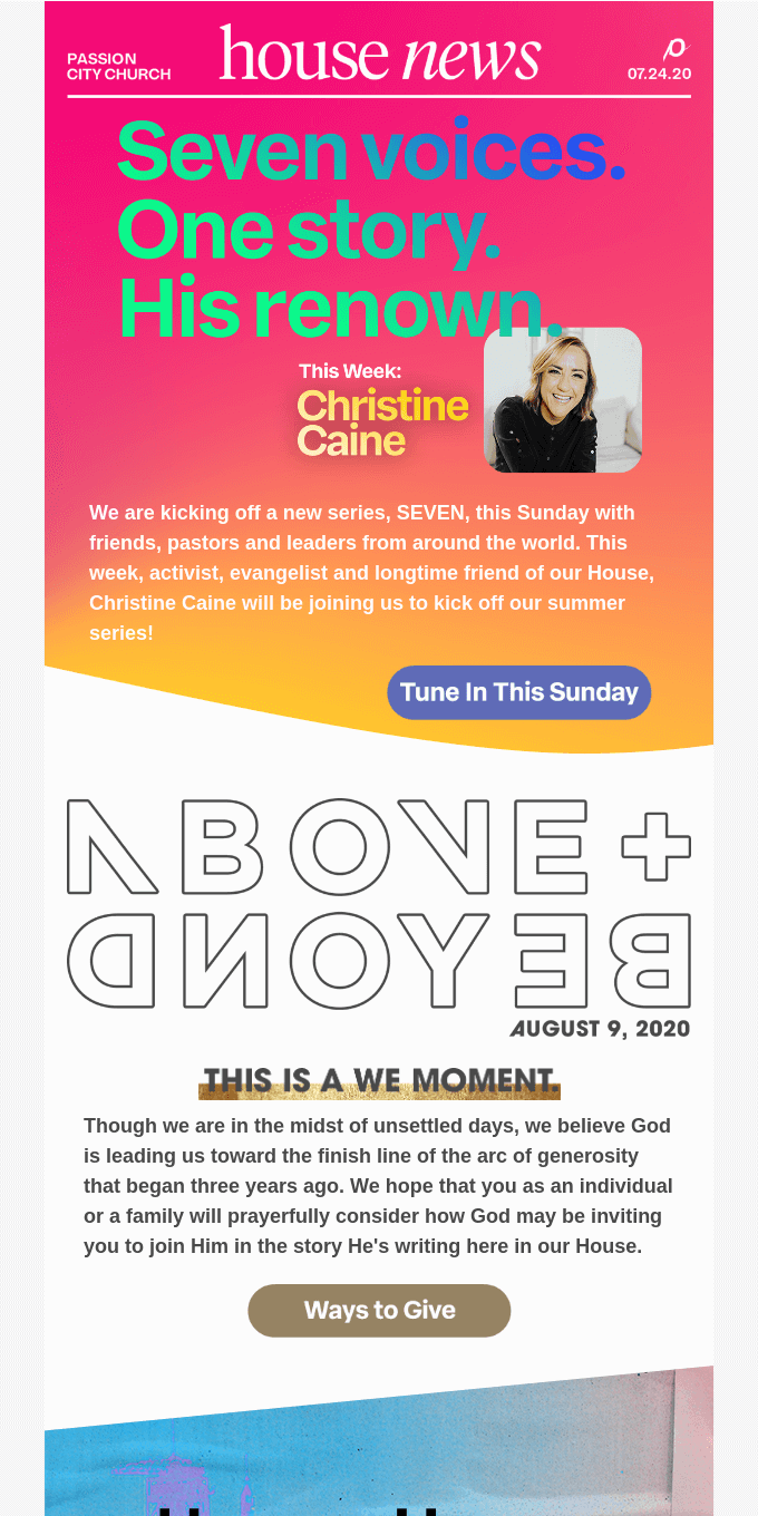 HOUSE NEWS // Our new series, SEVEN, starts this Sunday with Christine Caine