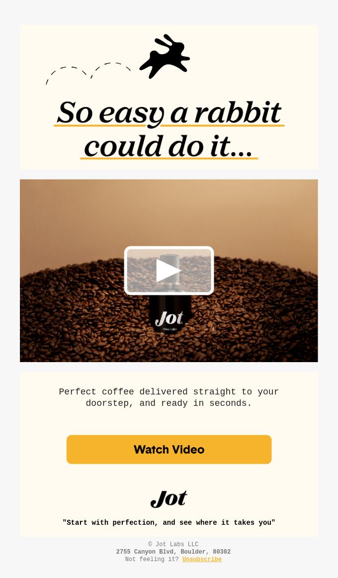 Newsletter firmy oferującej sprzedaż kawy. Przedstawia statyczną grafikę z ziarnami kawy i kawą w buteleczce wyglądającej jak flakonik z perfumami. Grafika ma naniesiony przycisk odtwarzania, aby zachęcić odbiorcę do odtworzenia wideo, prezentującego nowy produkt marki.