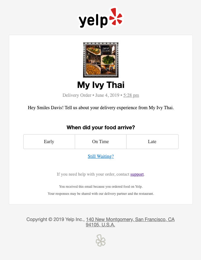How was your order with My Ivy Thai?