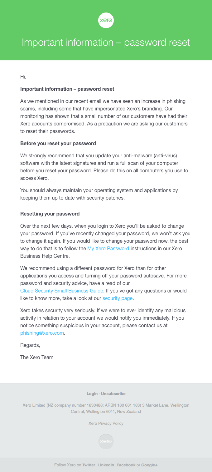 Important information – password reset