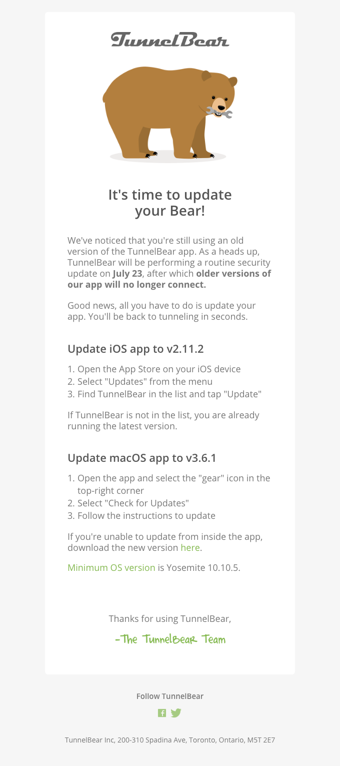 Important – Update your TunnelBear before July 23