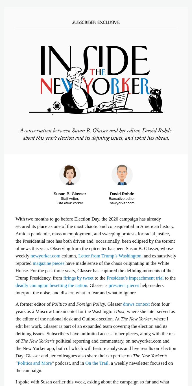 Inside The New Yorker: Susan Glasser on the Trump Presidency