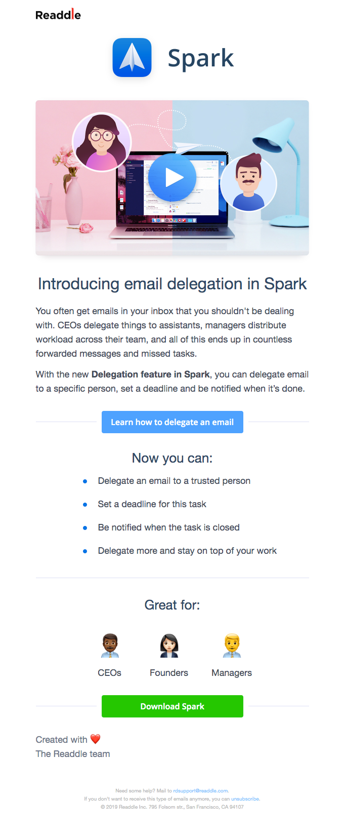 ✅ Introducing Email Delegation in Spark