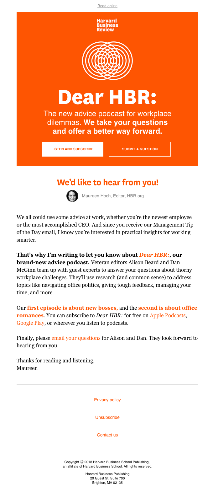 Introducing HBR's new work advice podcast | Really Good Emails