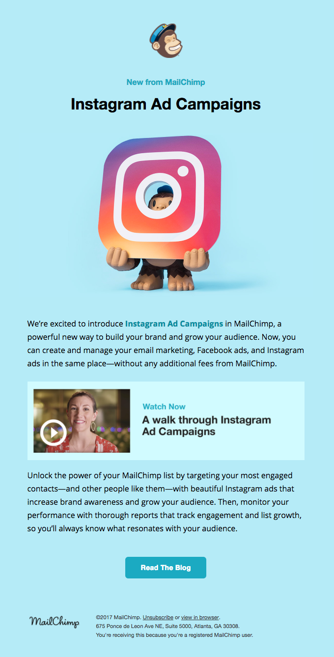 🐵 📷️ 🎉 Introducing Instagram Ad Campaigns in MailChimp