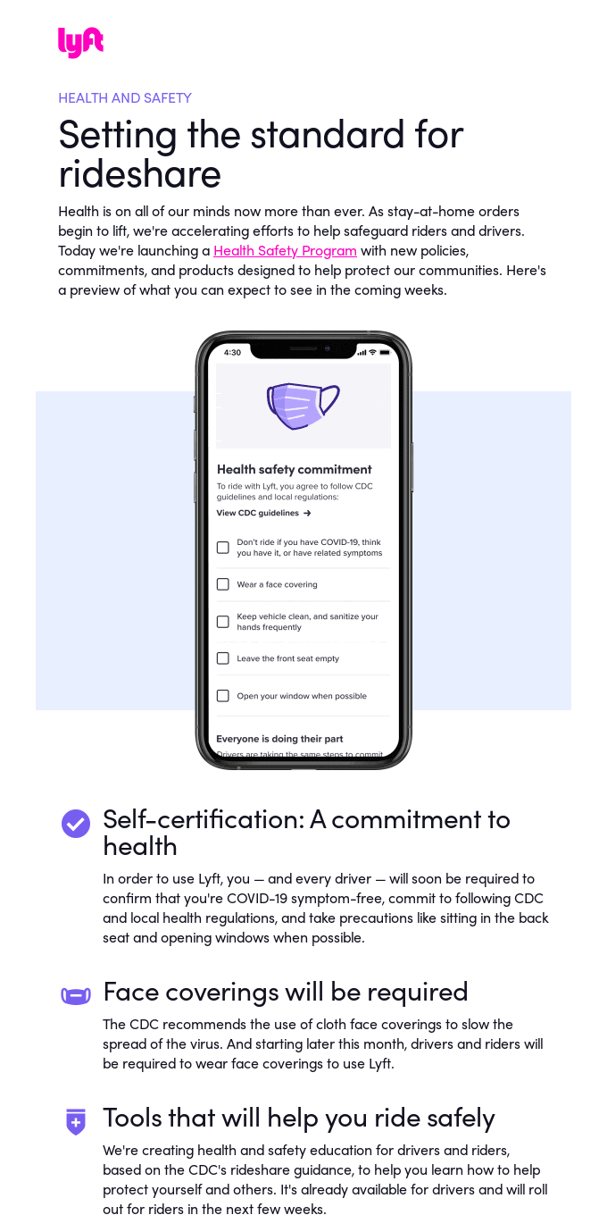 Introducing Lyft's Health Safety Program