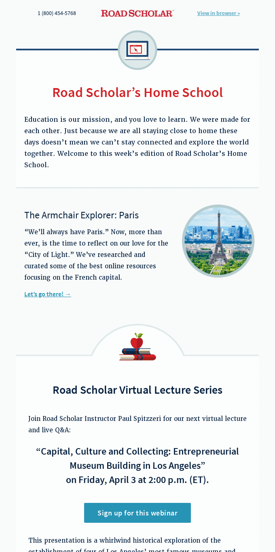 "Introducing: Road Scholar's Weekly ""Home School"" Series"